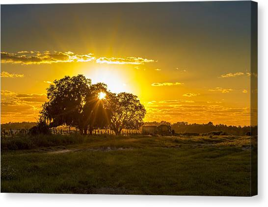 Lock Canvas Print - Farmland Sunset by Marvin Spates