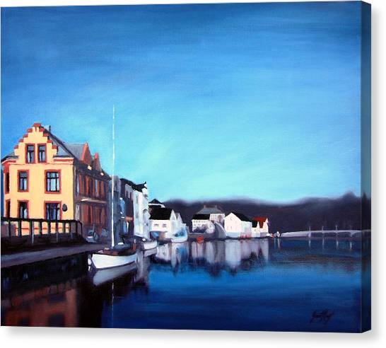 Farsund Canvas Print - Farsund Dock Scene I by Janet King