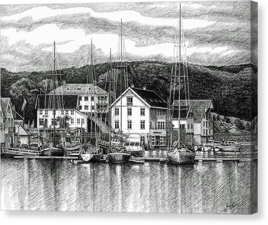 Farsund Dock Scene Pen And Ink Canvas Print