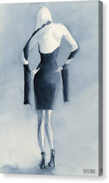 Navy Blue Canvas Print - Fashion Illustration Art Print Woman In Blue Dress Back by Beverly Brown Prints