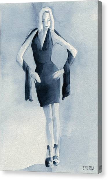 Navy Blue Canvas Print - Fashion Illustration Art Print Woman In Blue Dress Front by Beverly Brown Prints
