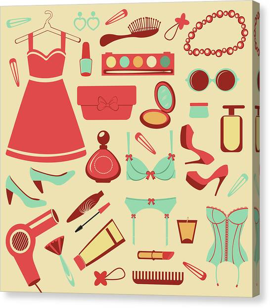 Fashion Items Set Canvas Print