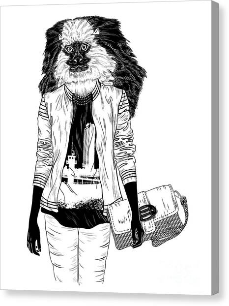 Primates Canvas Print - Fashion Monkey With Bag For Poster Or by Mirifada