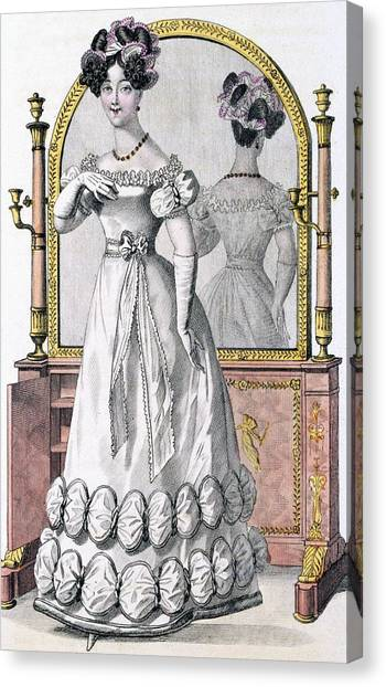 Fashion Plate Canvas Print - Fashion Plate Of A Lady In Evening by English School