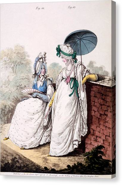 Fashion Plate Canvas Print - Fashion Plate Of Ladies Morning Dress by English School