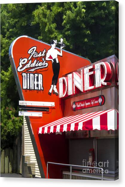 Diners Canvas Print - Fast Eddies Diner Art Deco Fifties by Edward Fielding