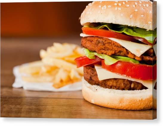 Mayonnaise Canvas Print - Fast Food Tasty Hamburger And Franch Fries by Daniel Barbalata
