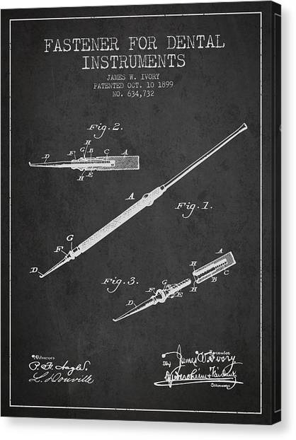 Excavators Canvas Print - Fastener For Dental Instruments Patent From 1899 - Dark by Aged Pixel