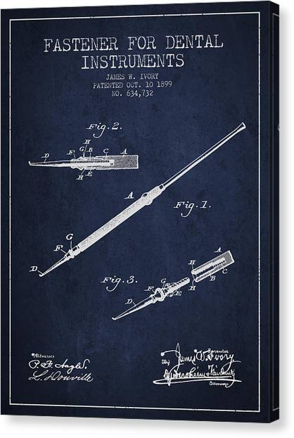 Excavators Canvas Print - Fastener For Dental Instruments Patent From 1899 - Navy Blue by Aged Pixel