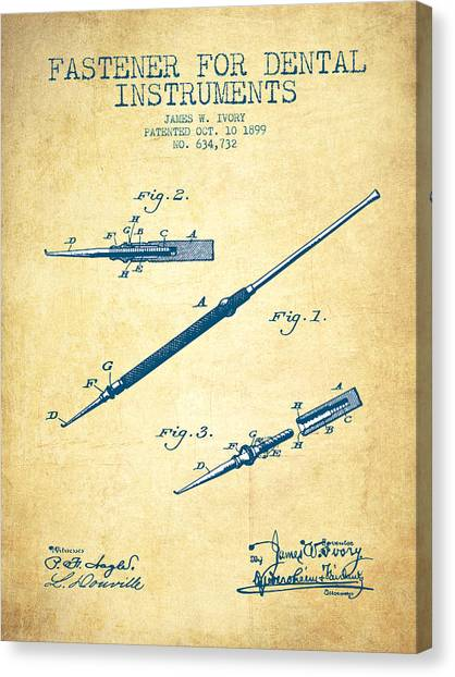 Excavators Canvas Print - Fastener For Dental Instruments Patent From 1899 - Vintage Paper by Aged Pixel
