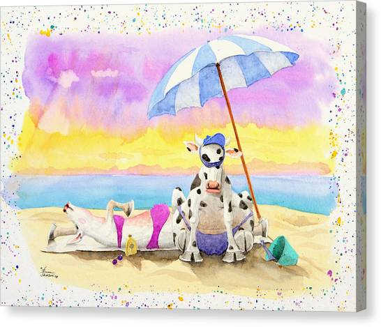 Fat Cows On A Beach 2 Canvas Print