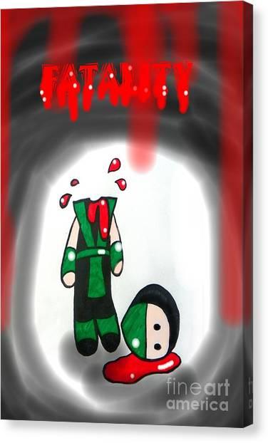 Mortal Kombat Canvas Print - Fatality by Marisela Mungia