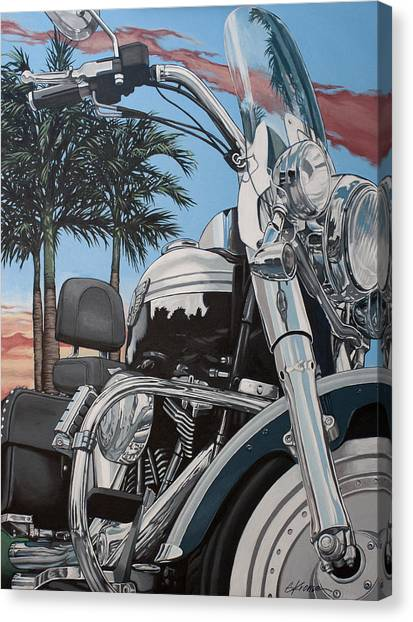 Motorcycle Canvas Print - Fatboy Sunset by Gary Kroman