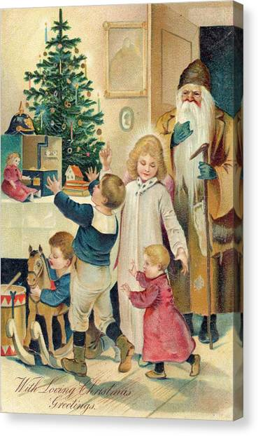8ac50ef0f Mary Christmas Canvas Print - Father Christmas Show Children by Mary Evans  Picture Library