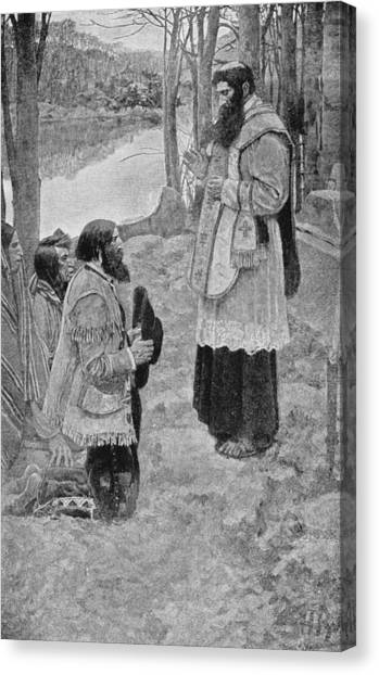 Priests Canvas Print - Father Hennepin Celebrating Mass, Illustration From La Salle And The Discovery Of The Great West by Howard Pyle