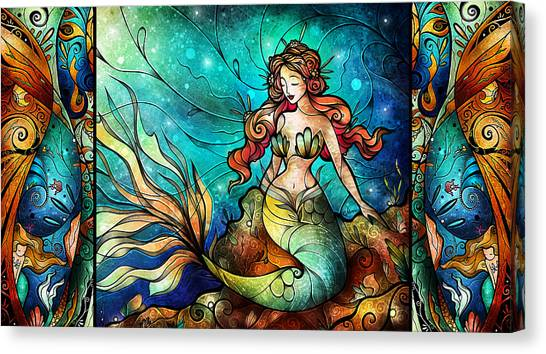 The Serene Siren Triptych Canvas Print