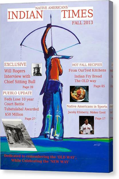 Faux Magazine Cover Native American Indian Times Canvas Print