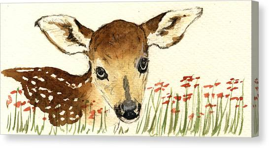 Nature Study Canvas Print - Fawn In The Flowers by Juan  Bosco