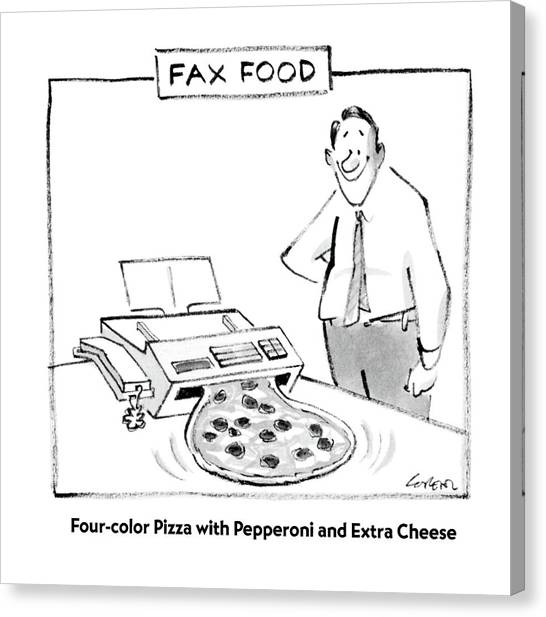 Fax Food 'four-color Pizza With Pepperoni Canvas Print