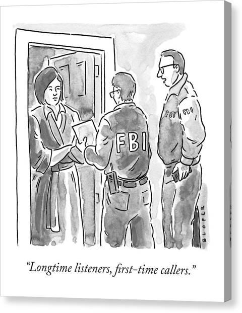 Fbi Canvas Print - Fbi Agents At A Woman's Door by Brendan Loper