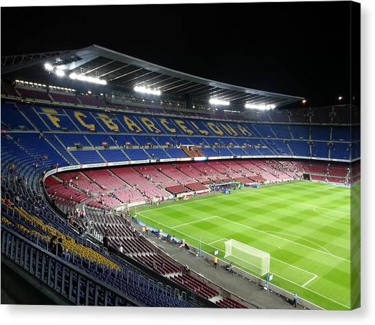 Soccer Teams Canvas Print - Fcb Stadium by Theano Exadaktylou