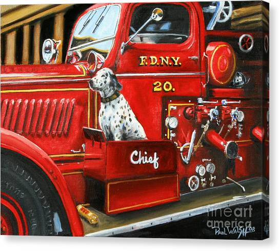 Trucks Canvas Print - Fdny Chief by Paul Walsh