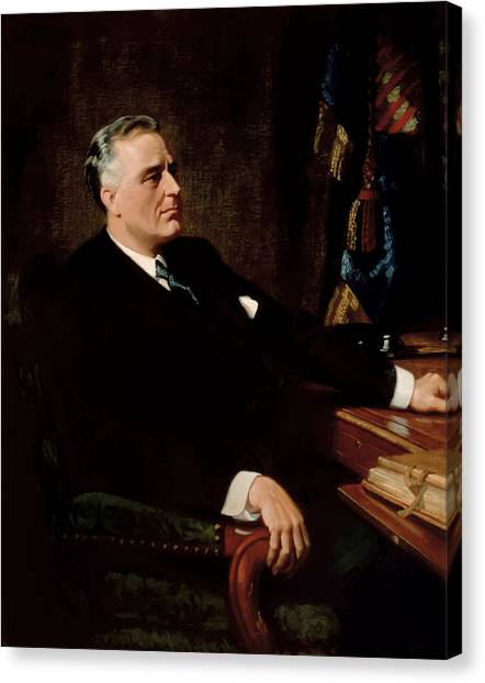 Democratic Canvas Print - Fdr Official Portrait  by War Is Hell Store