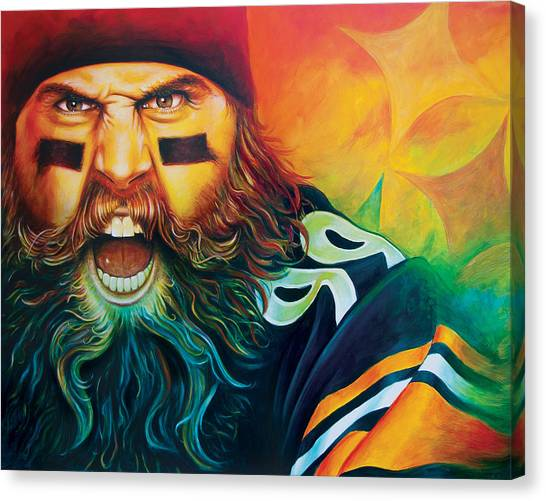 Pittsburgh Steelers Canvas Print - Fear Da Beard by Scott Spillman