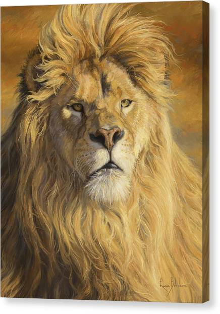 Lions Canvas Print - Fearless - Detail by Lucie Bilodeau