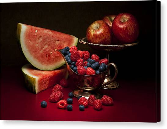 Raspberry Canvas Print - Feast Of Red Still Life by Tom Mc Nemar