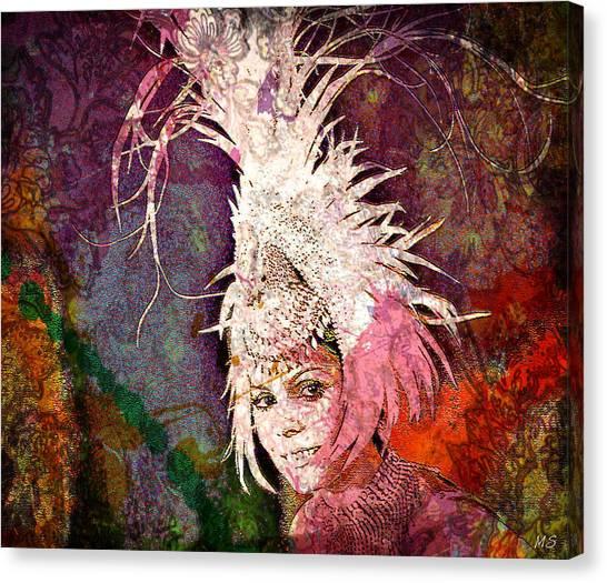 Big South Canvas Print - Feather Headress - Nelida Lobato by Absinthe Art By Michelle LeAnn Scott