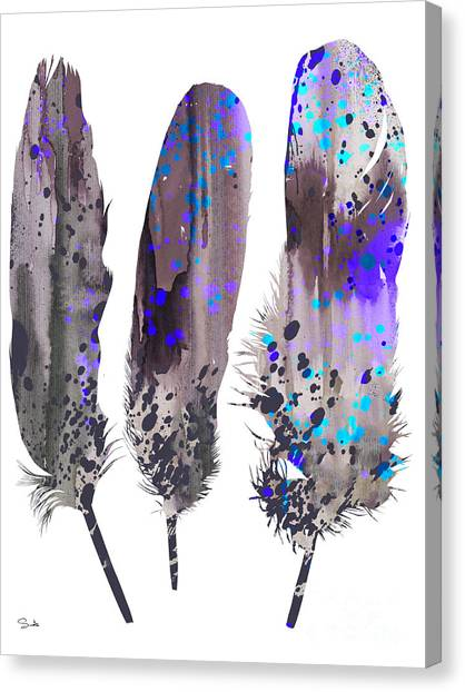 Feather Canvas Print - Feathers 2 by Watercolor Girl