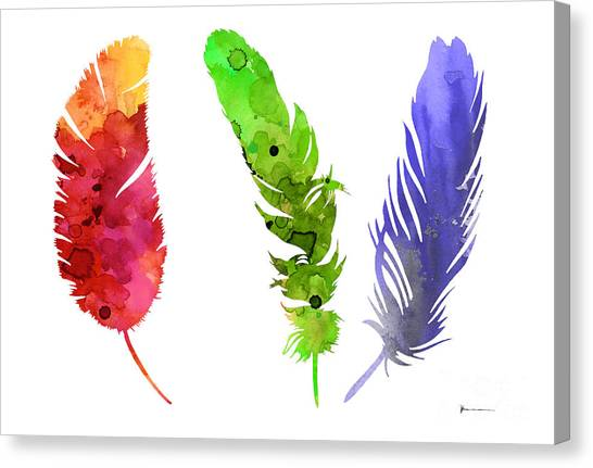 Watercolor Canvas Print - Feathers Silhouette Painting Watercolor Art Print by Joanna Szmerdt