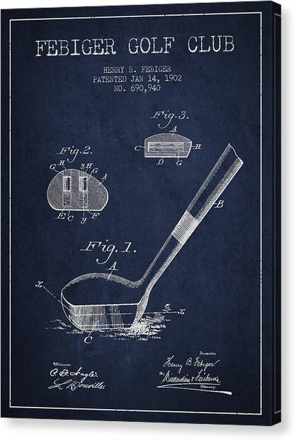 Pga Canvas Print - Febiger Golf Club Patent Drawing From 1902 - Navy Blue by Aged Pixel
