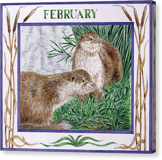 Otters Canvas Print - February Wc On Paper by Catherine Bradbury