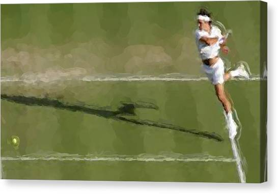 Tennis Pros Canvas Print - Federer Passing Shot by Brian Menasco