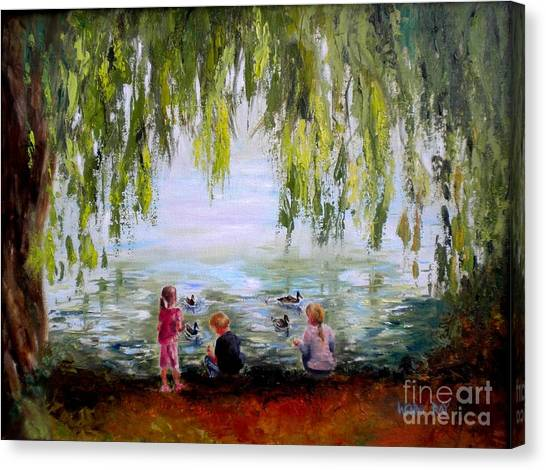 Feeding Ducks At Fort Dent Park Canvas Print