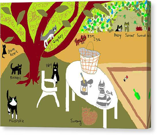Feeding The Cats At The Park Canvas Print