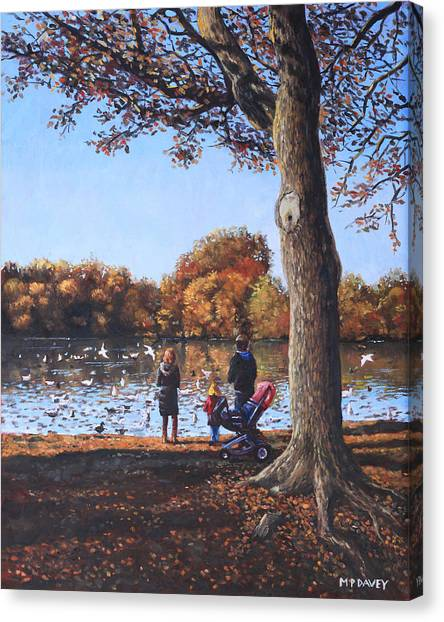Feeding The Ducks At Southampton Common Canvas Print