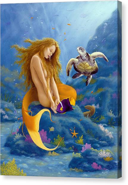 Canvas Print - Feeding The Fishes by John Silver