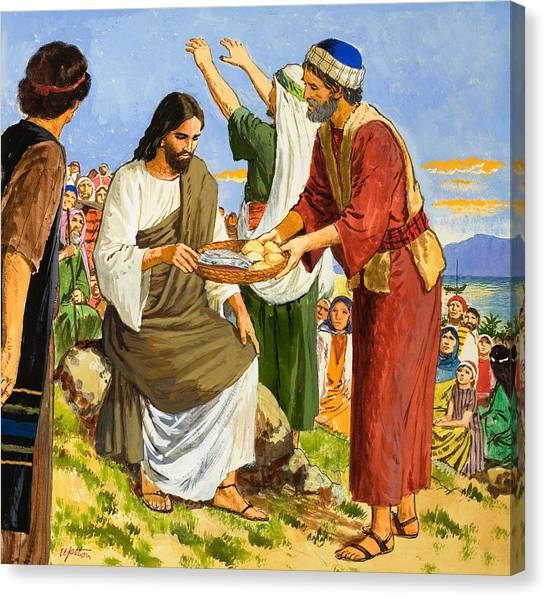 Messiah Canvas Print - Feeding The Five Thousand by Clive Uptton
