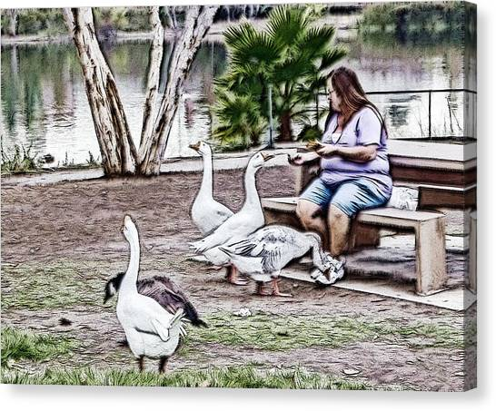 Feeding The Geese Canvas Print