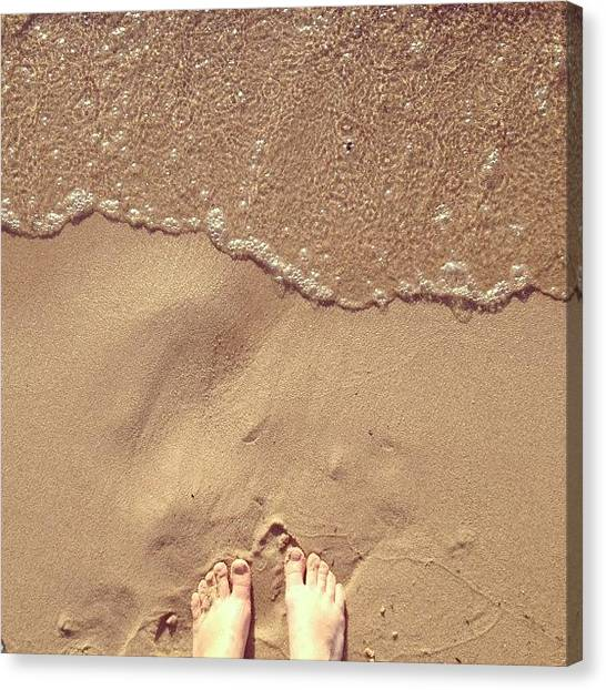 Drink Canvas Print - Feet On The Beach by Christy Beckwith