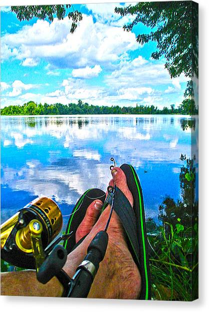 Feet Up Fishing Crab Orchard Lake Canvas Print