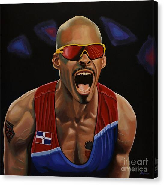 Track And Field Canvas Print - Felix Sanchez by Paul Meijering