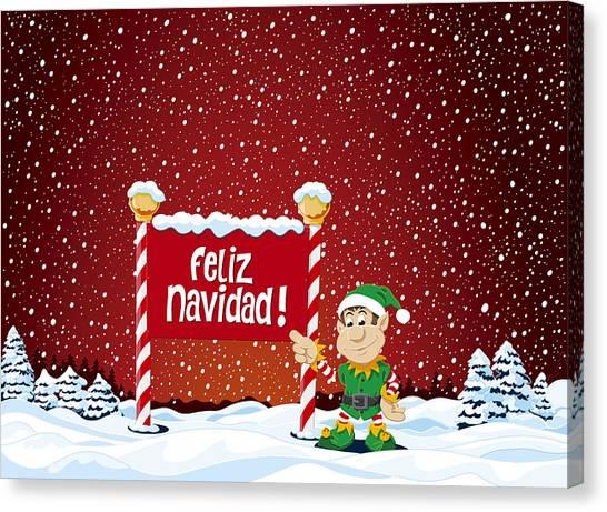 Snowing Canvas Print - Feliz Navidad Sign Christmas Elf Winter Landscape by Frank Ramspott