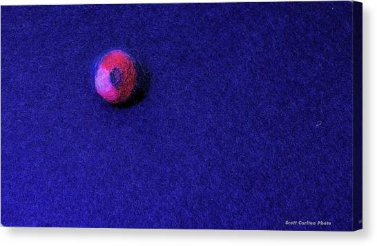 Felt Ball On Blue Felt Canvas Print