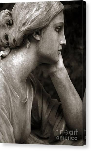 Statue Portrait Canvas Print - Female Angel Face Closeup - Female Angelic Face Portrait by Kathy Fornal