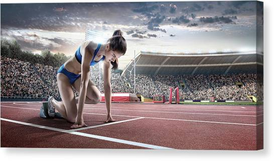 Female Athlete Prepares To Run Canvas Print by Dmytro Aksonov
