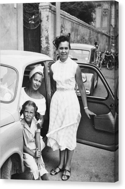 Female Child With Family Inside Car1951 Black And White By Lisa Blue